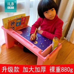 宝宝早教桌儿童学习小<span class=H>书桌</span>塑料学生写字桌床上懒人电脑桌吃饭餐桌