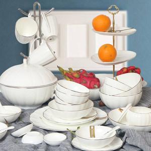 锦 骨瓷品味餐具欧式金边饭碗面碗家用浅碗炒菜盘深盘西<span class=H>餐盘</span>套装