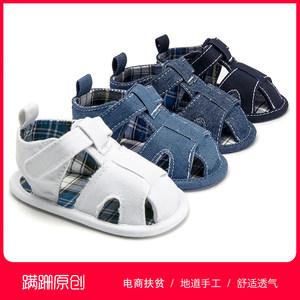 蹒跚<span class=H>品牌</span>学步<span class=H>鞋</span><span class=H>婴儿</span>儿童软底魔术贴布<span class=H>鞋</span>0到1岁男女宝宝凉<span class=H>鞋</span>步前<span class=H>鞋</span>