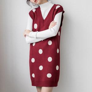 v领针织<span class=H>连衣裙</span>女秋冬波点背心裙egg裙红色毛衣裙短裙2018新款裙子