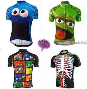 夏季男女款山地公路自行车<span class=H>服装</span>短袖花色巧克力卡通骑行服上衣透气