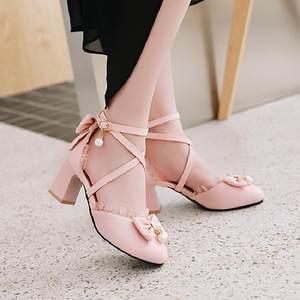 2018春夏季款小清新绑带甜美<span class=H>公主鞋</span>中跟女<span class=H>凉鞋</span>蝴蝶结少女粗跟女鞋