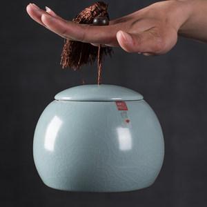 <span class=H>茶葉罐</span>陶瓷<span class=H>汝窯</span>開片<span class=H>大號</span>通用茶葉包裝保鮮防潮普洱茶罐存儲密封罐
