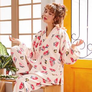 秋冬季加厚珊瑚绒睡衣女士和服<span class=H>浴袍</span>睡袍长袖长裤法兰绒可爱套装