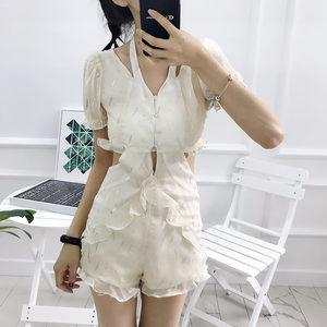 shuiii连体短裤女夏2019新款t恤短袖复古港味网纱套装chic