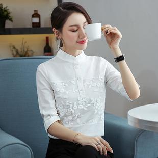 2019夏裝新款女裝純棉襯衣立領中袖打底衫套頭繡花上衣白色襯衫女