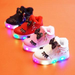 宝宝马丁靴1-3岁女童春秋冬季4小童短靴子蝴蝶结公主棉靴2雪地靴6