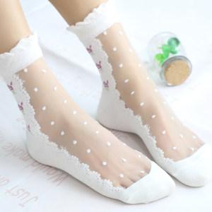 6双装森系蔷薇花水晶<span class=H>丝袜</span>春夏波点短袜子小清新玻璃丝女袜薄款