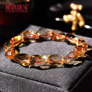 雁唐<span class=H>珠宝</span> 天然巴西黄水晶手链男 单圈橘黄不规则手串男女款饰品
