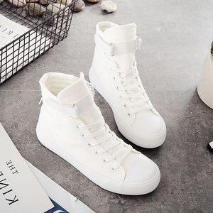 2018小布鞋女春季<span class=H>帆布鞋</span>学院高帮韩版时尚跳舞鞋厚底内增高小白鞋