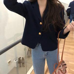 韩国ins早春浪浪季气质百搭短款单排两粒扣西装领长袖西装外套女