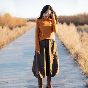 特绽放C877朵/游灯/2018秋冬新女复古半身裙棉橡筋花苞型长款半裙