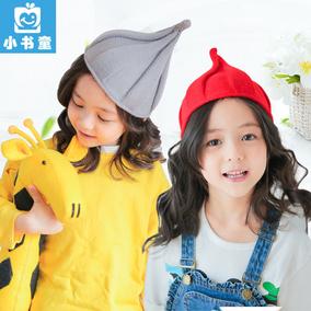 韩国秋冬儿童套头帽子潮宝宝毛线巫师帽针织男女尖尖帽奶嘴帽加厚