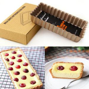 金色不粘长方形活底派盘 波浪边<span class=H>烤盘</span>乳酪蛋糕模 布朗尼蛋糕模