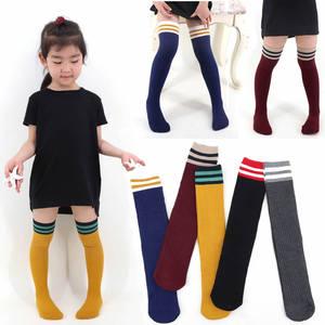 儿童中长筒袜春夏秋款宝宝<span class=H>袜子</span>纯棉过膝学生条纹运动袜男童足球袜