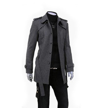 Men's Wear Men's Wool Fabric Korean Edition Slim Wool Coat Men's Thickened Overcoat Men's Windswear L166-2