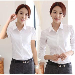 韩版白色女衬衫短袖夏装半袖工作服正装工装大码<span class=H>衬衣</span>职业女装ol