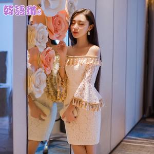 韩语琳空间2017气质名媛女装性感露肩一字肩喇叭袖流苏蕾丝连衣裙