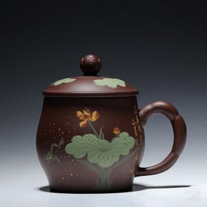 宜兴<span class=H>紫砂</span>盖杯 名家全手工 青蛙荷叶泥绘 原矿清水泥茶杯茶具