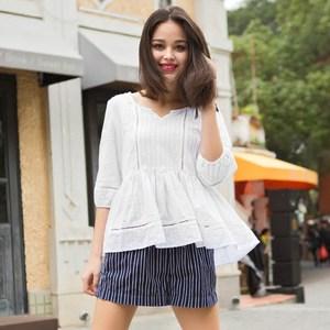 华伊格 夏季新款七分袖白<span class=H>衬衫</span>欧美时尚修身显瘦休闲白色衬衣女