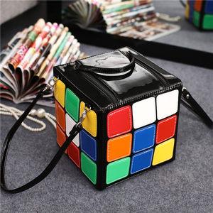 韩版新款个性创意魔方造型小方包手提包卡通<span class=H>女包</span>可爱潮人方块包包