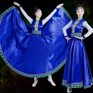 新款蒙古族演出服<span class=H>女装</span>内蒙古舞蹈<span class=H>服装</span>蒙古袍成人少数<span class=H>民族</span>表演服裙