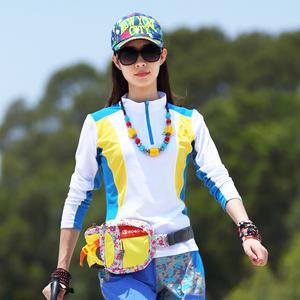 户外速干t恤长袖女速干衣大码运动跑步女式长袖修身透气夏季徒步