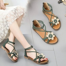 P64 Sandals, Red Shoes, Flat-soled Shoes, Fairy Shoes, Beach Shoes, Summer 2019 New Student Roman Shoes