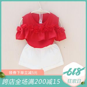 2019夏季新品韩版女童儿童中大童童装雪纺花朵洋气漏肩雪纺T恤衫