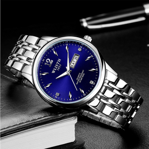 正品大表盘双日历防水<span class=H>手表</span> 男士钢带休闲石英表 学生韩版时装腕表