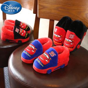 迪士尼儿童棉<span class=H>拖鞋</span>秋冬男保暖冬季包跟可爱防滑新款卡通室内毛毛鞋