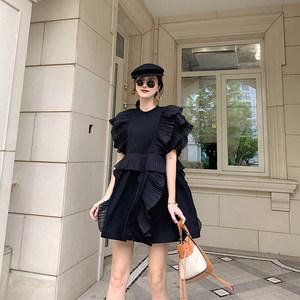 NORA自制荷叶边<span class=H>连衣裙</span>2019新款夏季气质小众娃娃衫法式短款仙女裙