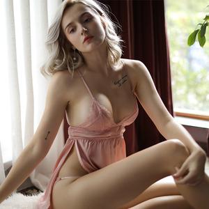 性感睡衣夏季少女蕾丝花边侧开衩诱惑超短款睡裙丝绸诱惑情趣内衣