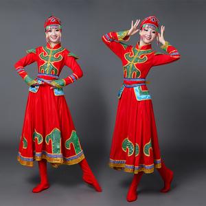 新款蒙古族大裙摆舞蹈演出服<span class=H>女装</span>内蒙古大草原民族舞表演<span class=H>服装</span>长裙