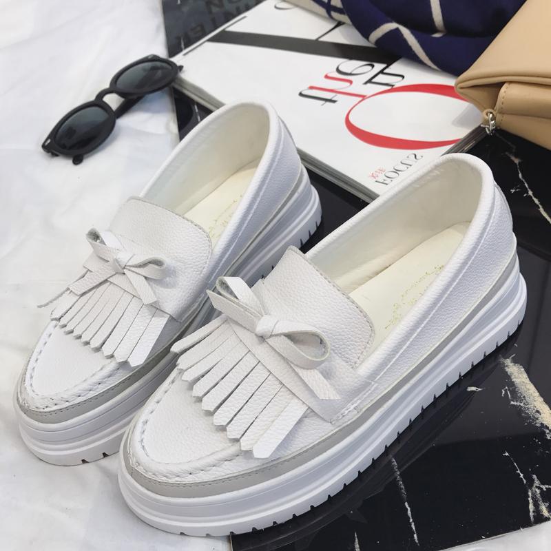 Jaket Kulit Putih Kecil Shoe Wanita Baba Bawah 100 Ambil untuk Meningkatkan Gao Xian Tipis Lazy Person Satu Kaki Deng joy Berkat Sepatu Tebal Bawah Daftar Shoe Wanita-Internasional