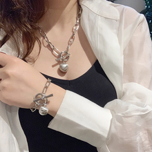 European and American Cold Wind Metal Round Ball Necklace Female Rough Chain Ball Pendant Individual Temperament Clavicle Chain Neck Jewelry