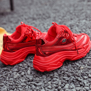 欧洲站老爹鞋女红色ins百搭网面镭射厚底港风2019春夏新款运动鞋