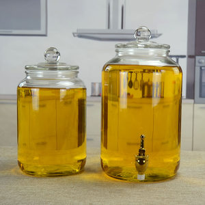 油罐 廚房 家用油瓶大容量玻璃油壺食用<span class=H>油桶</span>大號裝油瓶花生儲油罐