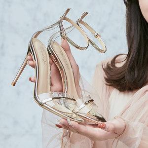 夏欧美新款高跟8/10cm细跟性感一字细带真皮女<span class=H>凉鞋</span>金银色婚纱照鞋