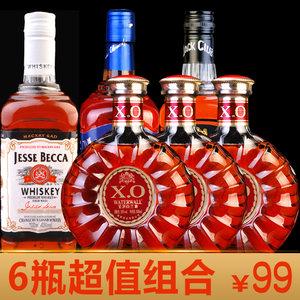 洋酒组合 杰克俱乐部<span class=H>威士忌</span>+x.o金奖白兰地6瓶套餐组合