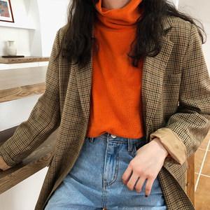 韩国chic亮色橙色橘色修身显瘦百搭时尚长袖<span class=H>T恤</span>亲肤打底衫上衣女