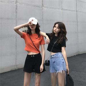 韩版百搭短款短袖t恤<span class=H>女装</span>2019新款潮流工装露脐装上衣无袖背心女