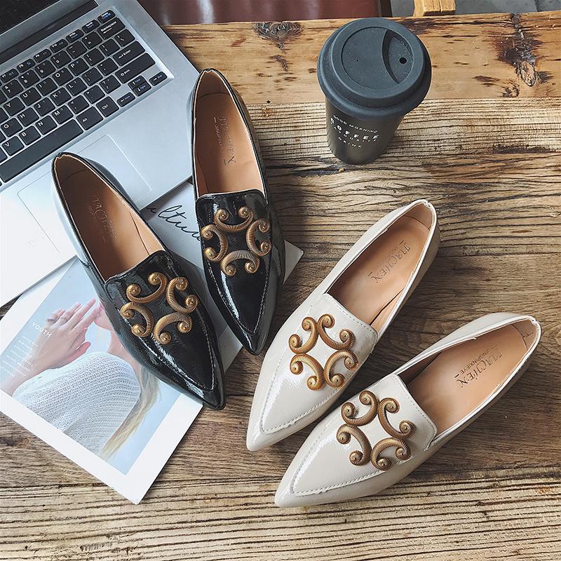 Bean Bean Shoe Wanita Euro-amerika Ujung Tajam Tebal Tumit Nikmati Berkat Shoe Wanita 2018 Musim Semi Musim Gugur 100 ambil Daftar Sepatu Wanita Menghidupkan Kembali Kebiasaan Lama Kasual Sepatu Wanita-Internasional