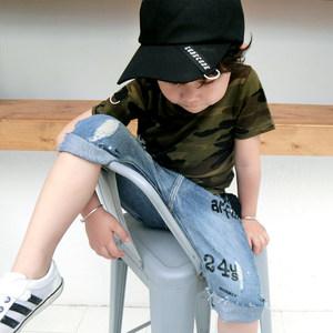 儿童迷彩短袖<span class=H>T恤</span>男童军绿色半袖夏季新款纯棉上衣透气<span class=H>战地</span>服潮