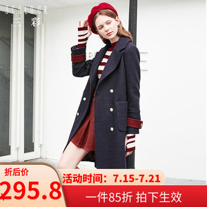 三彩2019夏装新款长袖<span class=H>大衣</span>双排扣大翻领呢子外套上衣女D844029D00