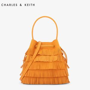 CHARLES&KEITH <span class=H>水桶包</span> CK2-10780633 复古流苏<span class=H>抽带</span>水桶单肩包