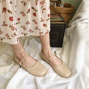玛丽珍鞋女平底2019新春款日系复古圆头一字扣显瘦<span class=H>单鞋</span>纯色娃娃鞋