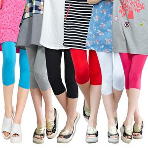 七分纯棉<span class=H>打底</span><span class=H>裤</span>女士夏季显瘦大码外穿糖果色薄款<span class=H>女装</span>小脚短<span class=H>裤</span> 码