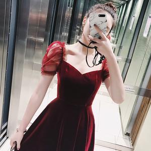 子晴红色丝绒连衣裙女春高腰荷叶边公主袖欧美名媛内搭A字中长裙