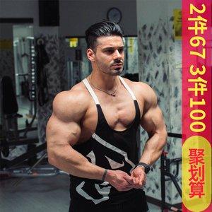 型男欧美风宽松透气无袖工字运动背心肌肉兄弟器械健身训练服<span class=H>上衣</span>